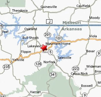 Service Area Map FreeAir Heating Inc Mountain Home Arkansas